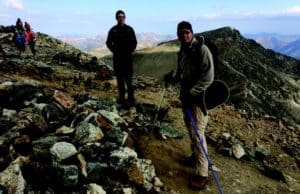 Gray's Peak, Colorado at 14,278 feet. Jay Hermacinski is in the front with the poles and Tom Kaplan in the center